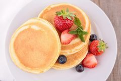 Pancakes and berries Royalty Free Stock Images