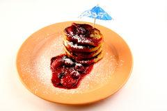 Pancakes with berries Royalty Free Stock Images