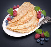 Pancakes with berries Stock Photography