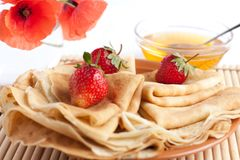 Pancakes with berries folded envelopes Royalty Free Stock Image