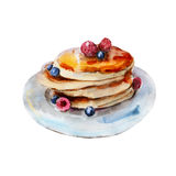 The pancakes with berries isolated on white background, watercolor illustration Royalty Free Stock Images