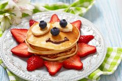 Pancakes with berries for kids Royalty Free Stock Photography
