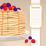 Pancakes and berries Stock Photography
