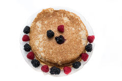 Pancakes with berry fruits Royalty Free Stock Image