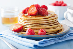 Pancakes with berry and honey Stock Photography