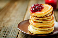 Pancakes with berry jam Stock Photos