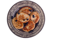 Pancakes with bilberry Stock Photos