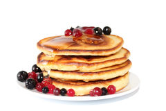 Pancakes with black currants (image with clipping path) Royalty Free Stock Photo