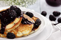 Pancakes and Blackberries Royalty Free Stock Images