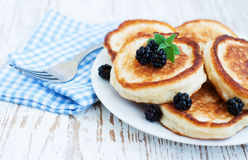 Pancakes with blackberries Royalty Free Stock Images