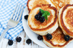 Pancakes with blackberries Stock Image