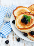 Pancakes with blackberries Royalty Free Stock Image