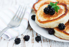 Pancakes with blackberries Stock Photo