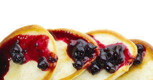 Pancakes with blackcurrant jam Royalty Free Stock Images