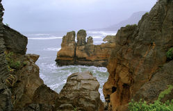 Pancakes and Blow Holes. In the south Island of New Zealand, this is the renowned Pancakes and Blow Holes an incredible geological site Stock Photography