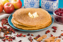 Pancakes on a blue background Stock Image