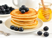 Pancakes with blueberries Royalty Free Stock Photo