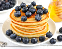 Pancakes with blueberries Stock Photography