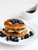 Pancakes with blueberries. On a plate Royalty Free Stock Images