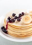 Pancakes with blueberries and banana Royalty Free Stock Images