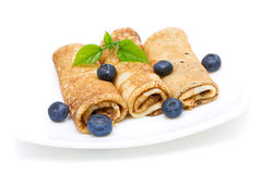 Pancakes with blueberries. close-up. Stock Photo
