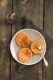 Pancakes with blueberries. And maple syrup royalty free stock photography