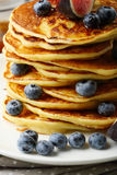 Pancakes with blueberries and maple syrup closeup Royalty Free Stock Photography