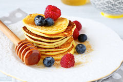 Pancakes with blueberries and raspberries Stock Photo