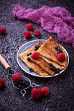 Pancakes with blueberries and raspberries. Selective focus Stock Photography