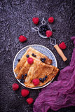 Pancakes with blueberries and raspberries. Selective focus Stock Images