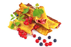 Pancakes with blueberries and red currants Stock Photo