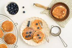 Pancakes with blueberries Royalty Free Stock Photos