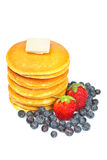 Pancakes, blueberries and strawberries Royalty Free Stock Images