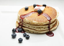 Pancakes with Blueberries and Syrup Royalty Free Stock Image