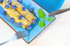 Pancakes with blueberries Stock Images