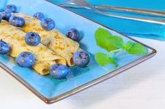 Pancakes with blueberries Stock Photos
