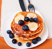 Pancakes with blueberry and bananas Royalty Free Stock Photo