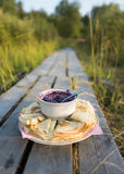 Pancakes with blueberry jam on the beautiful background Stock Photo