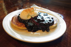 Pancakes with blueberry sauce dessert Royalty Free Stock Photography