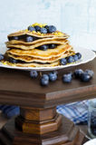 Pancakes with blueberry on white plate. Stock Photo