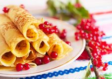 Pancakes and a branch of red currants. Stock Photos