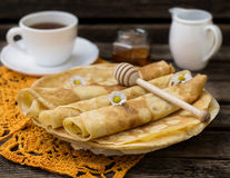 Pancakes for breakfast with tea Royalty Free Stock Photography
