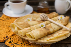 Pancakes for breakfast with tea Stock Image