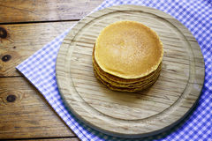 Pancakes breakfast  on wooden background Royalty Free Stock Photos