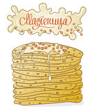 Pancakes with butter and caviar for Maslenitsa - Shrovetide Stock Photos
