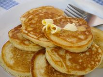Pancakes with butter closeup Stock Image