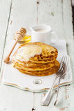 Pancakes with butter and honey Stock Photo
