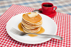 Pancakes With Butter and Maple Syrup Stock Photo