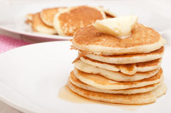 Pancakes With Butter and Maple Syrup Stock Photography