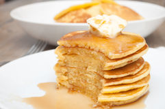 Pancakes With Butter and Maple Syrup Stock Image